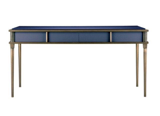 Blue desk with sandblasted walnut and cinnamon metal trim.