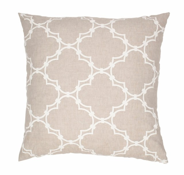 COCOCOZY Natural Linen Quatrefoil Pillow in white