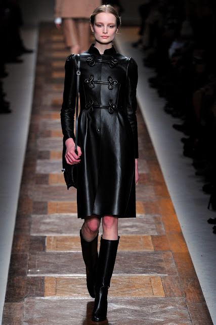 model from valentino fall 2012 runway show black leather military jacket with toggles