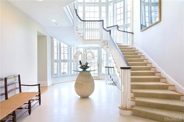 Bright foyer in a Bedford, NY mansion