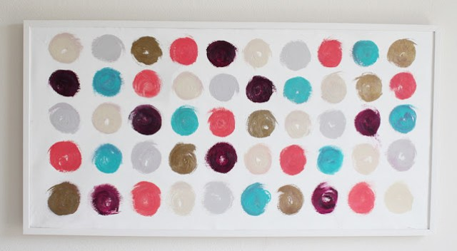 Painting made of lipstick dot swatches arranged in a 5x10 rectangle