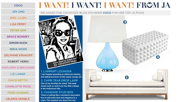 screen grab of Coco of COCOCOZY's I Want list on the Jonathan Adler