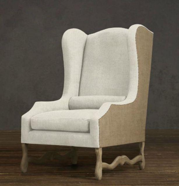 Belgian linen wingback chair