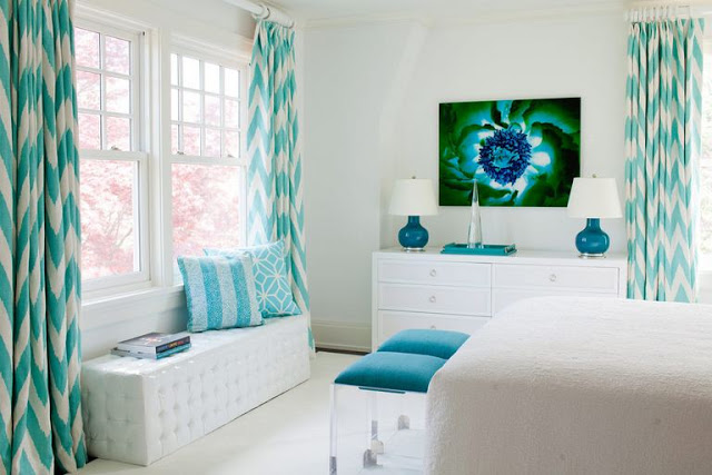 White bedroom with turquoise bedroom by Amanda Nisbet