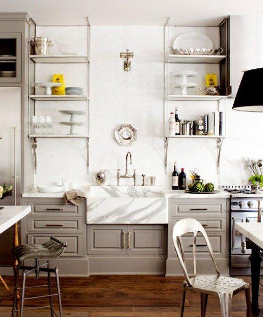 kitchen with windsor gray cabinets, marble backsplash, and carrara metal shelves