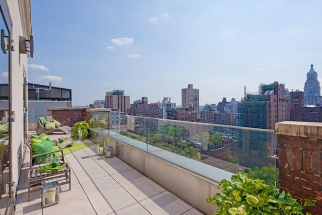 Balcony and view from a New York City penthouse with a view Gramercy Park