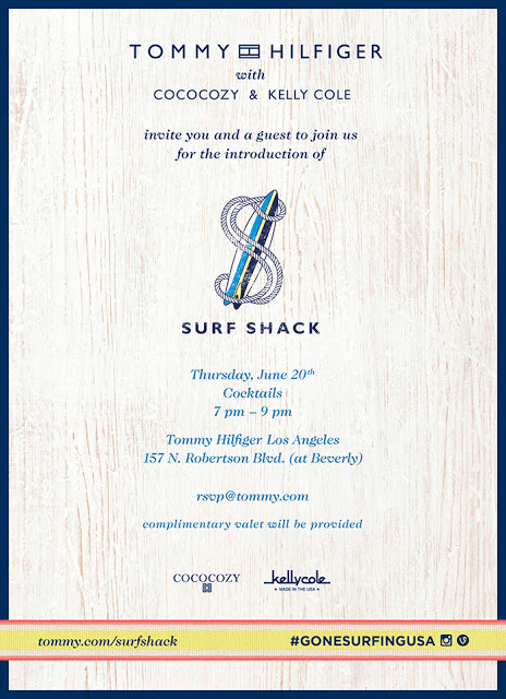 Invitation to the Tommy Hilfiger Surf Shack launch party in Los Angeles