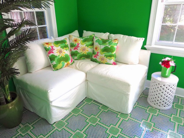 white corner sofa sectional seating painted wood tile floors
