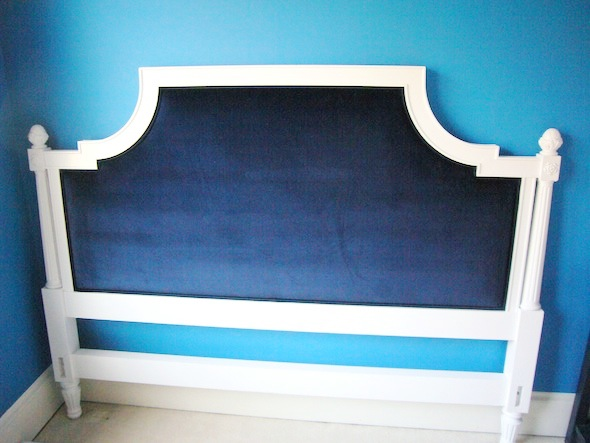 After, the headboard was painted white and the toile was replaced with blue velvet