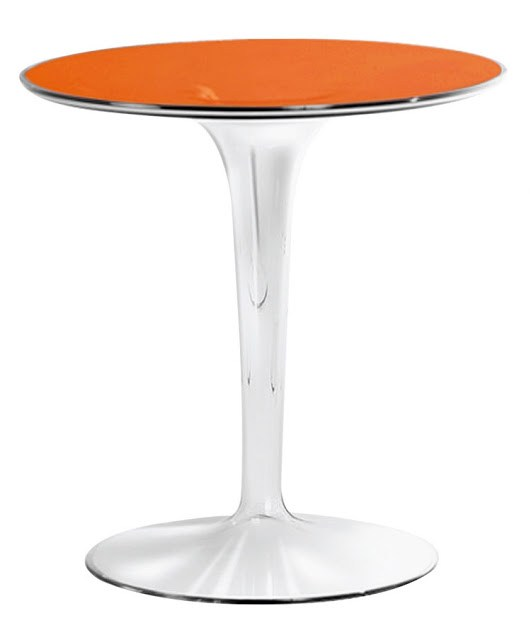Transparent small side table with orange top