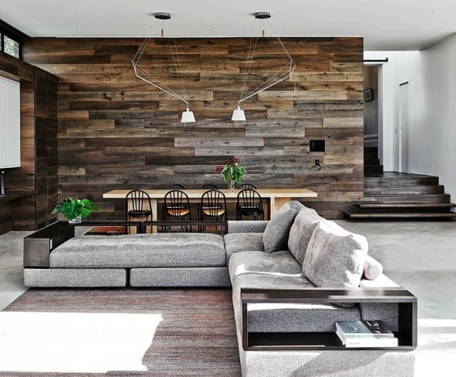 Mixed surface living room design by Robson Rak Architects