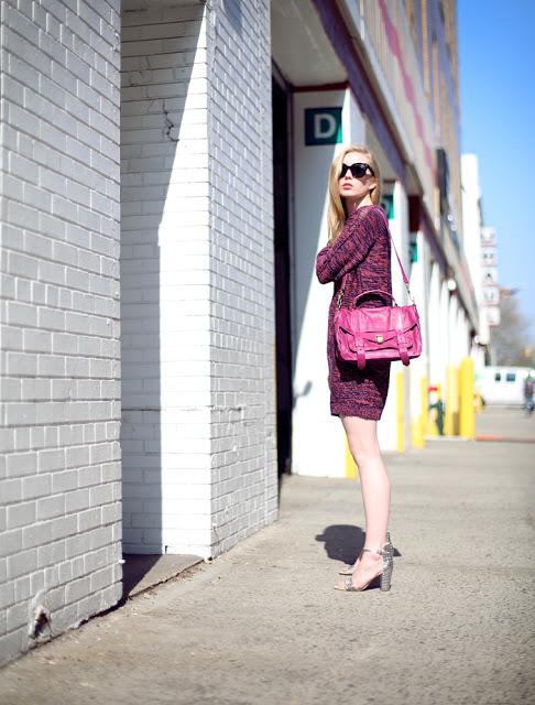fashion squad blog street style dagmar knit dress proenza purse bag pink fuchsia style