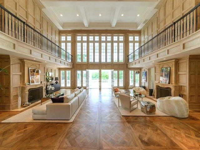 Estate Hamptons parquet floors and oak paneled walls simple staging