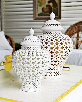 White pierced ginger jars from William Sonoma Home