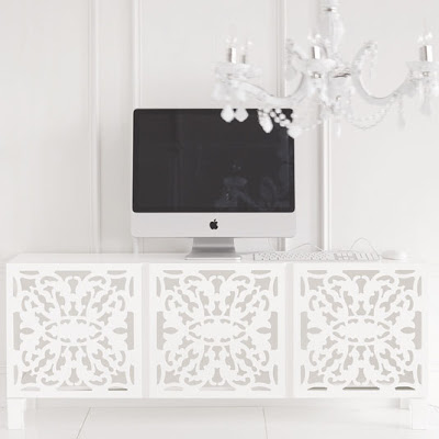 White lace cut media storage from Brocade Home