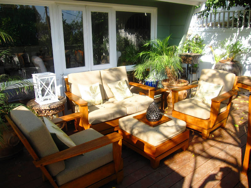 Teak lounge furniture on a deck in the Hollywood Hills from Brown Jordan