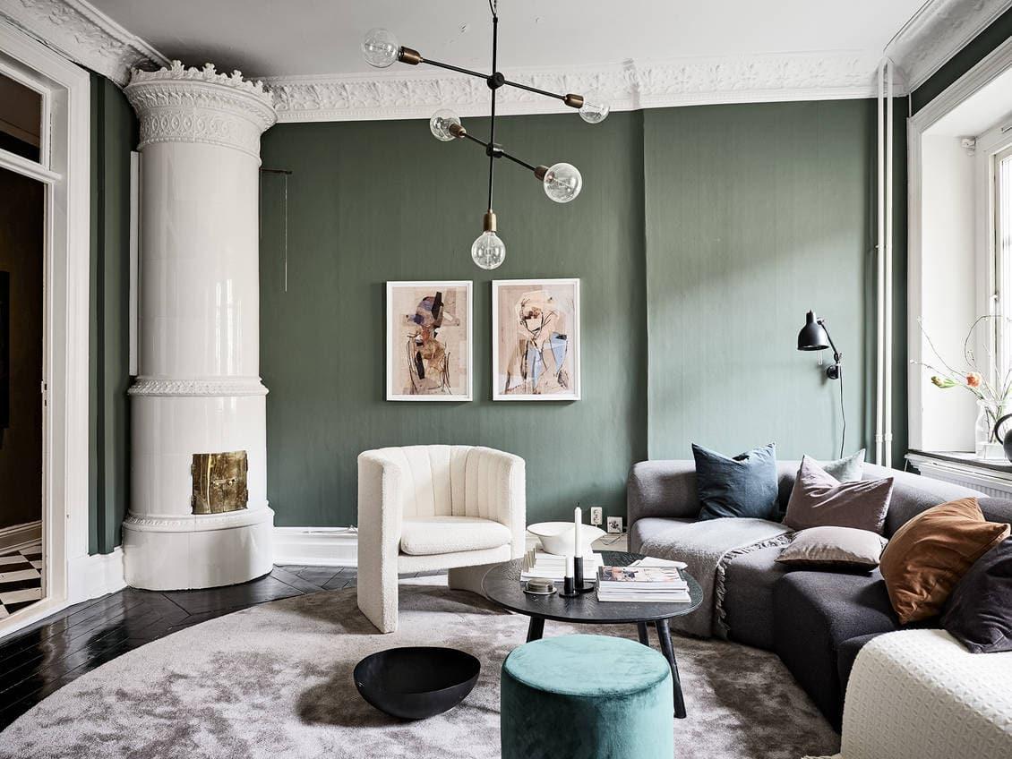 Classy green living room