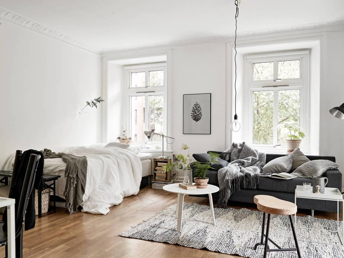 cozy one room flat coco lapine designcoco lapine design. Black Bedroom Furniture Sets. Home Design Ideas