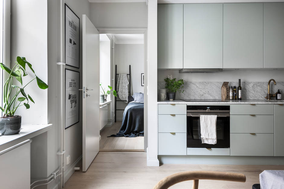 ... Mint Green Kitchen In A Cozy Living Space   Via Coco Lapine Design Blog  ...