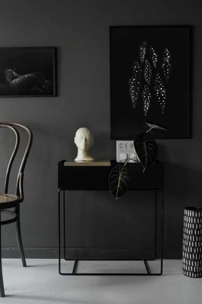 Coco Lapine prints in a beautiful dark setting - via Coco Lapine Design blog