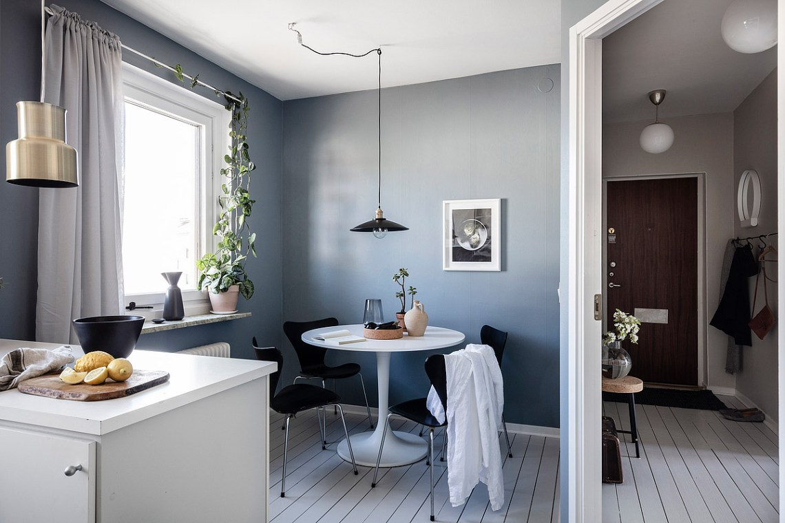 Home with petrol blue walls
