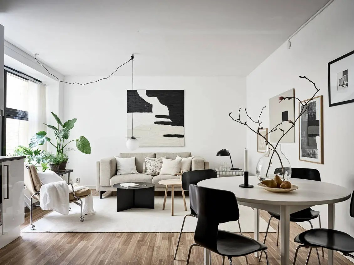 Beige Studio home with black accents