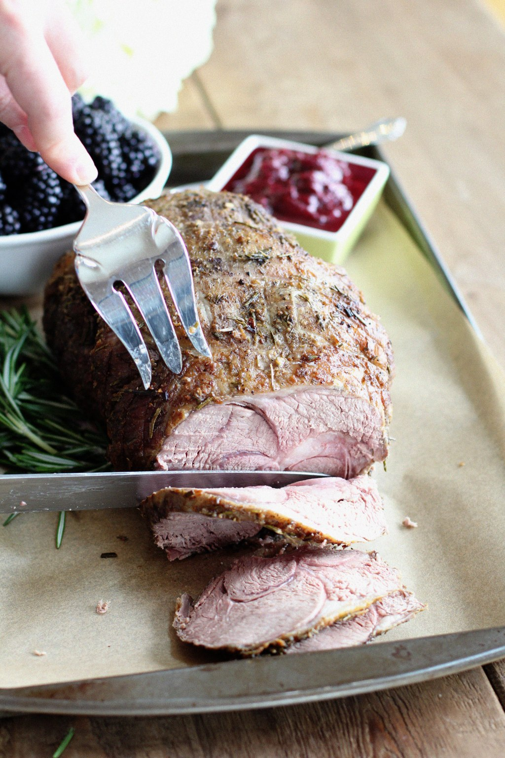 Roasted Leg of Lamb with Blackberry Chutney