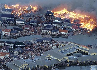 Simultaneous fire and flood after Japan's March 2011 earthquake.