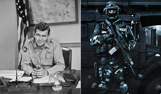 How did our country change from Andy Griffith type consensus policing to military style police assault?