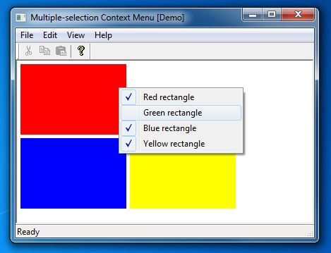 Multiple-selection context menu