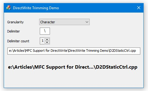 DirectWrite Trimming Demo