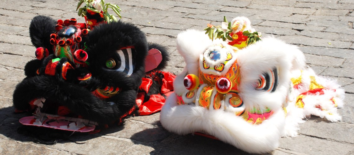 Lion heads ready and waiting for Chinese New Year in Penang