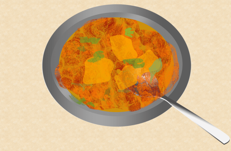 Indian cuisine - Indian Butter Chicken, Penang Indian restaurants, illustration by Dan Convey