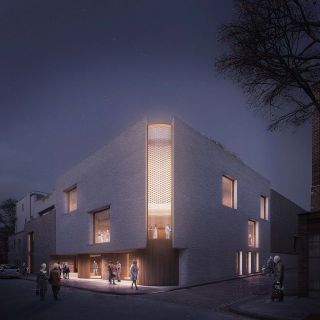 Coffey Architects_London Irish Centre_Murray Street view night_image by Darc Studio