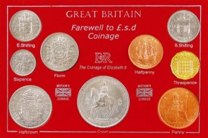 Collection of old pre-decimal coins from during the reign of Queen Elizabeth II.