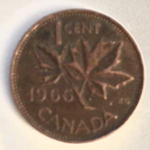1966 Canadian one-cent found in pocket change