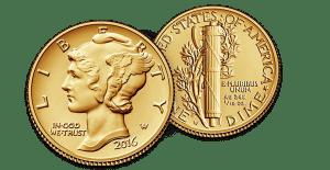 Mercury Dime Centennial Gold Coin