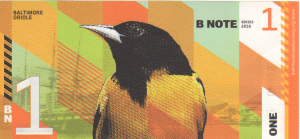 Back of Baltimore BN1 BNote featuring a Baltimore Oriole (batting leadoff)