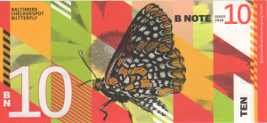 Back of Baltimore BN10 BNote with image of a Baltimore Checkerspot Butterfly, the Maryland State Insect