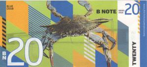 Back of Baltimore BN20 BNote with image of a Blue Crab, the Maryland State Crustacean