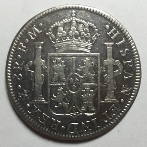 Reverse of a 1795 8 Reales Thaler; also know as the Pillar dollar or Spanish Milled dollar
