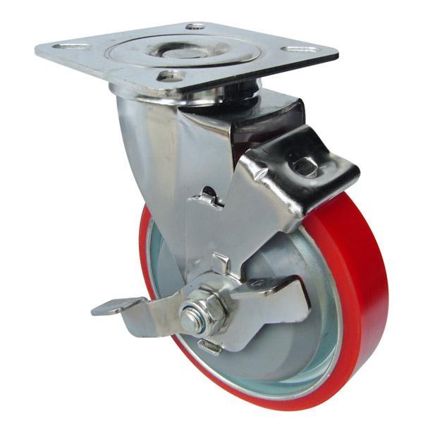 Càng G xoay, có thắng, bánh xe PU lõi thép G200-02U của công ty cổ phần Làng Rùa