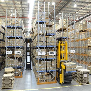 Forklift Sorting Warehousing Supplies Into Shelves