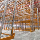 Yellow Pallet Racking Installation In A Warehouse