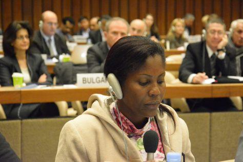 Luz Dary Pineda durante su intervención en la plenaria de la 14ª Reunión de Estados parte de la Convención sobre la Prohibición de las Minas Antipersonal