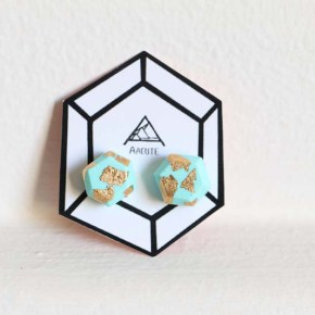 Aacute Earrings Mint Gold Leaf Geo - Colour Box Studio Online Shop