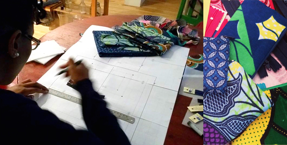 Feather and Spear - African print bag making process. Image provided.