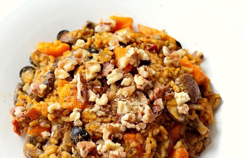 Recept vegan risotto met kastanjechampignons en pompoen 2