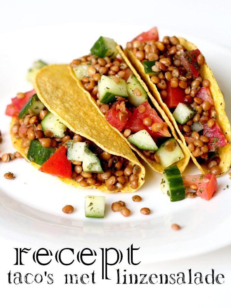 Recept vegan taco's met linzensalade Pinterest