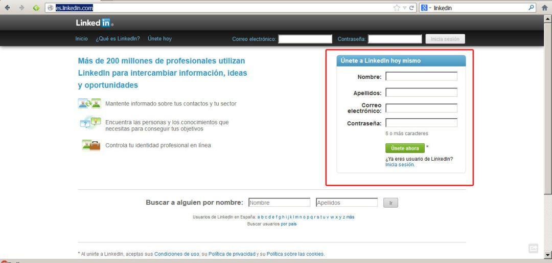 Pasos para crear una cuenta en linkedin